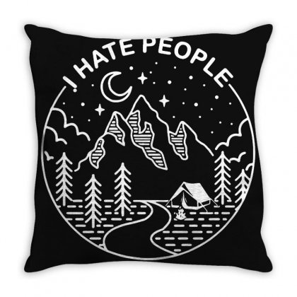 Hate People Merch Throw Pillow Designed By Oktaviany