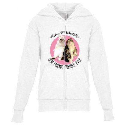 Olivia And Meredith Best Friends Youth Zipper Hoodie Designed By Oktaviany
