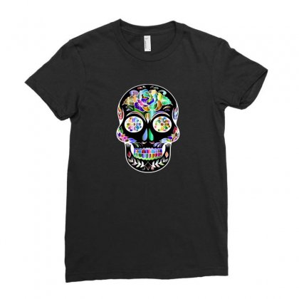 Sugar Skull Day Of The Dead Ladies Fitted T-shirt Designed By Custom