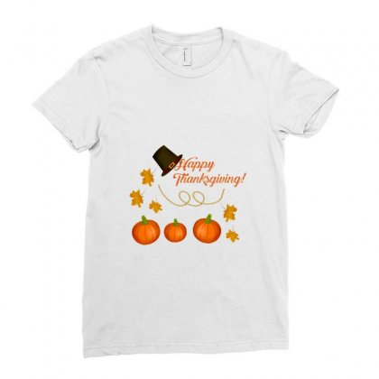 Happy Thanksgiving Ladies Fitted T-shirt Designed By Zein