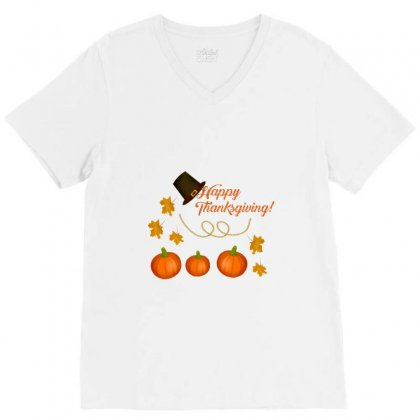 Happy Thanksgiving V-neck Tee Designed By Zein