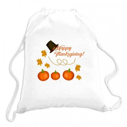 Happy Thanksgiving Drawstring Bags Designed By Zein