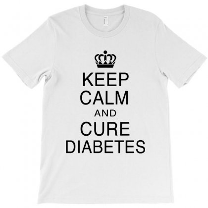 Keep Calm And Cure Diabetes In Black Text T-shirt Designed By Ainazee Tees