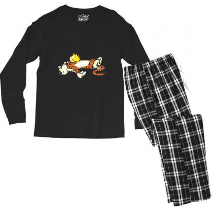 Calvin And Hobbes Tired Men's Long Sleeve Pajama Set Designed By Rakuzan