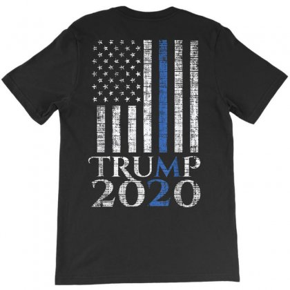 Thin Blue Line Trump 2020 American Flag T-shirt Designed By Kakashop
