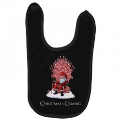 christmas is coming santa candy cane throne Baby Bibs | Artistshot