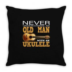 old man and a ukulele Throw Pillow   Artistshot