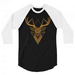 dark deer graphic abstract 3/4 Sleeve Shirt | Artistshot