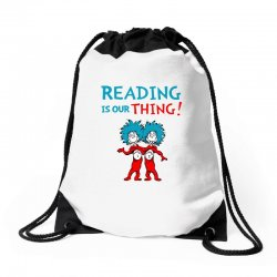 reading is our thing Drawstring Bags | Artistshot