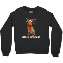 christmas vizsla dog holiday lights merry woofmas Crewneck Sweatshirt | Artistshot