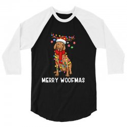 christmas vizsla dog holiday lights merry woofmas 3/4 Sleeve Shirt | Artistshot