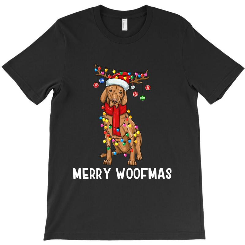 Christmas Vizsla Dog Holiday Lights Merry Woofmas T-shirt | Artistshot