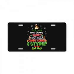 four main food groups elf christmas License Plate | Artistshot