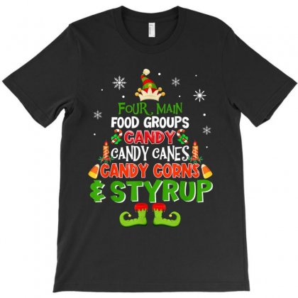 Four Main Food Groups Elf Christmas T-shirt Designed By Kakashop