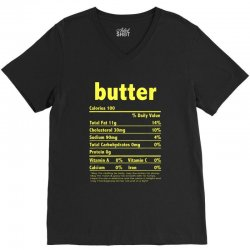 funny thanksgiving butter nutritional facts family V-Neck Tee | Artistshot