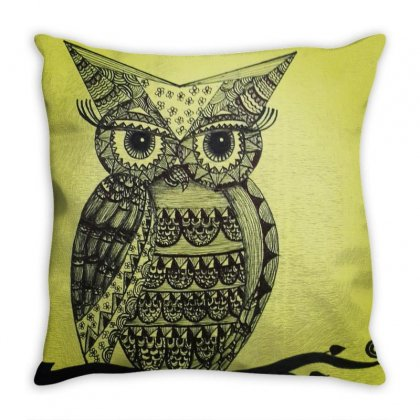 Mandala Owl Throw Pillow Designed By Bharat
