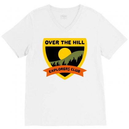 Over The Hill Explorers V-neck Tee Designed By Milaart