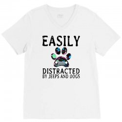 easily distracted by jeeps and dogs V-Neck Tee | Artistshot
