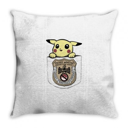 Pocket Monster Protection Agency Throw Pillow Designed By Milaart