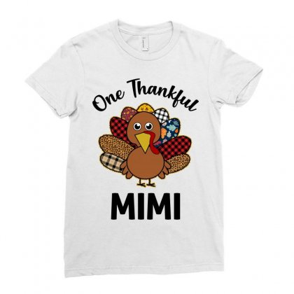 One Thankful Mimi Ladies Fitted T-shirt Designed By Badaudesign