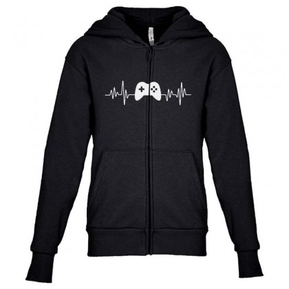Gamer Heartbeat Youth Zipper Hoodie Designed By Creative Tees