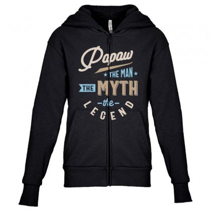 Mens Papaw The Man The Myth The Legend Father's Day Youth Zipper Hoodie Designed By Cidolopez