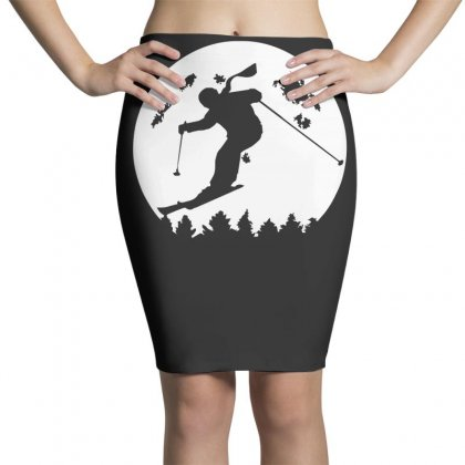 Skiier Moon Moonlight Silhouett Pencil Skirts Designed By Fanshirt