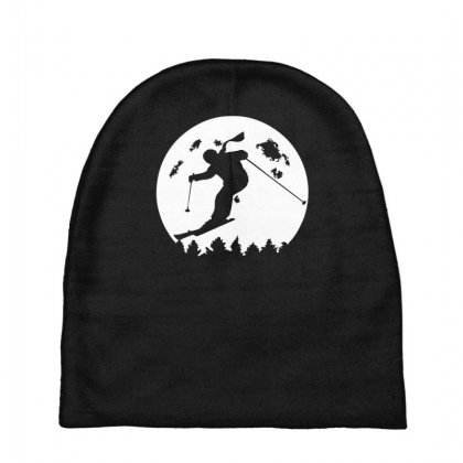Skiier Moon Moonlight Silhouett Baby Beanies Designed By Fanshirt