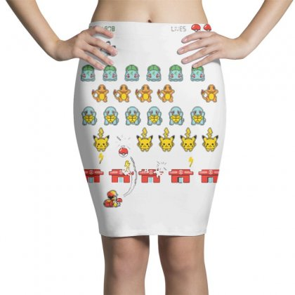 Pokéinvaders Pencil Skirts Designed By Milaart