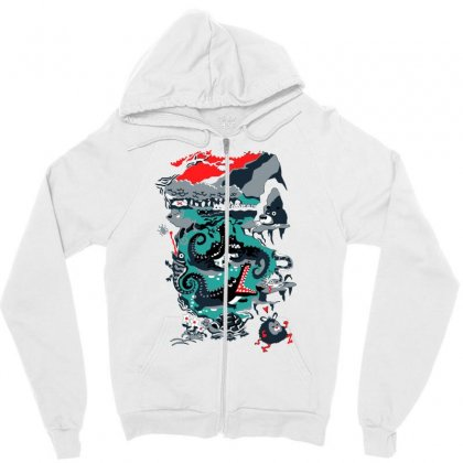 Positive Thinking Zipper Hoodie Designed By Milaart
