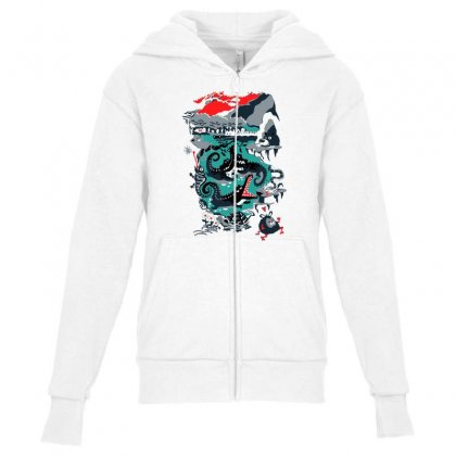 Positive Thinking Youth Zipper Hoodie Designed By Milaart