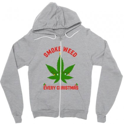 Smoke Weed Every Christmas Funny Zipper Hoodie Designed By Sr88