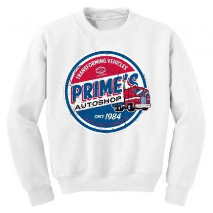 Prime's Autoshop Youth Sweatshirt Designed By Milaart