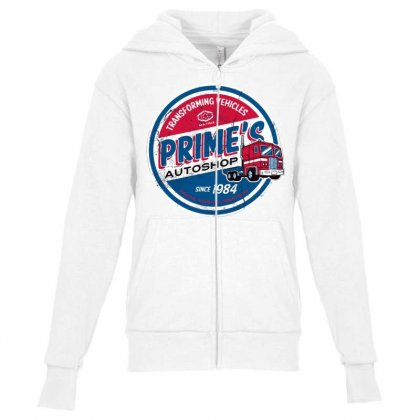 Prime's Autoshop Youth Zipper Hoodie Designed By Milaart