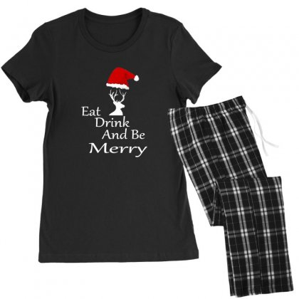Eat Drink And Be Merry Christmas Women's Pajamas Set Designed By Sr88