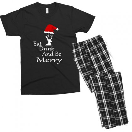 Eat Drink And Be Merry Christmas Men's T-shirt Pajama Set Designed By Sr88