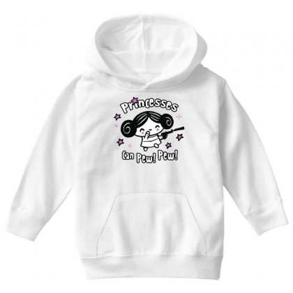 Princesses Can Pew! Pew! Too Youth Hoodie Designed By Milaart