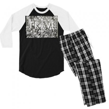 Travel Men's 3/4 Sleeve Pajama Set Designed By Dep