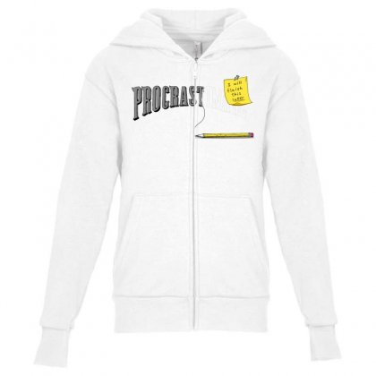 Procrast . . . Inate Youth Zipper Hoodie Designed By Milaart