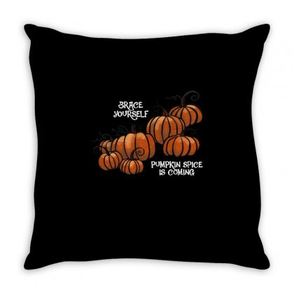 Pumpkin Spice Is Coming Throw Pillow Designed By Milaart