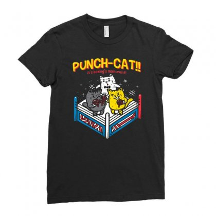 Punch Cat! Ladies Fitted T-shirt Designed By Milaart