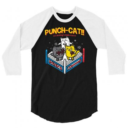 Punch Cat! 3/4 Sleeve Shirt Designed By Milaart