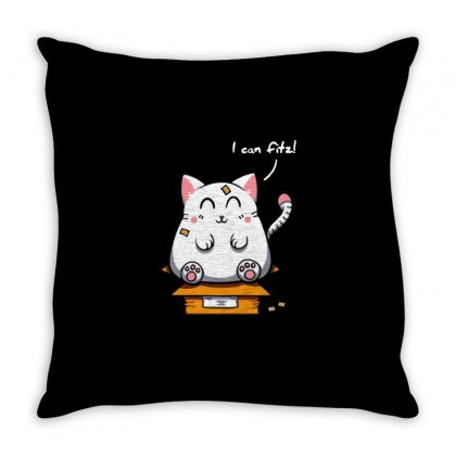 Purrfect Fit Throw Pillow Designed By Milaart