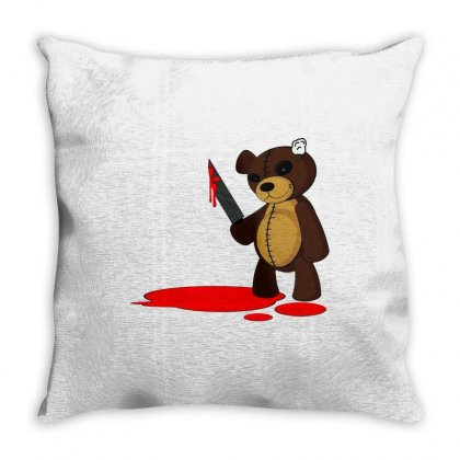 Psycho Teddy Throw Pillow Designed By Creative Tees