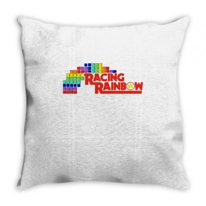 Racing Rainbow Throw Pillow Designed By Milaart
