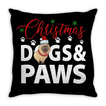Christmas Dogs & Paws For Dark Throw Pillow Designed By Gurkan
