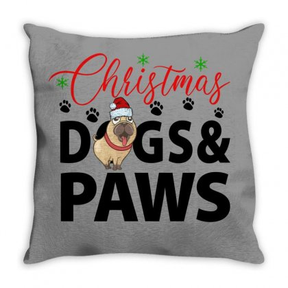Christmas Dogs & Paws For Light Throw Pillow Designed By Gurkan