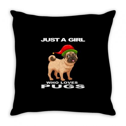 Just A Girl Who Loves Pugs, Pug Lover Gift Slim Throw Pillow Designed By Alparslan