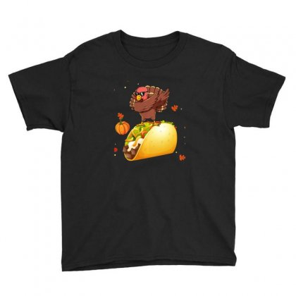 Dabbing Turkey Riding Taco Thanksgiving Christmas Youth Tee Designed By Sr88