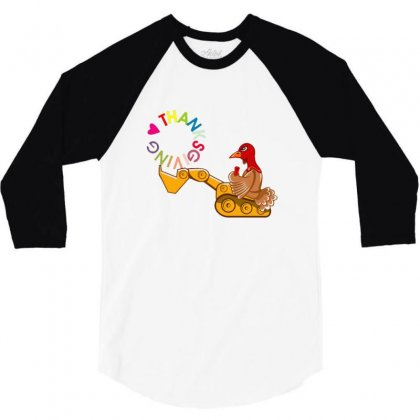 Turkey Digging Thanksgiving Day 3/4 Sleeve Shirt Designed By Sr88